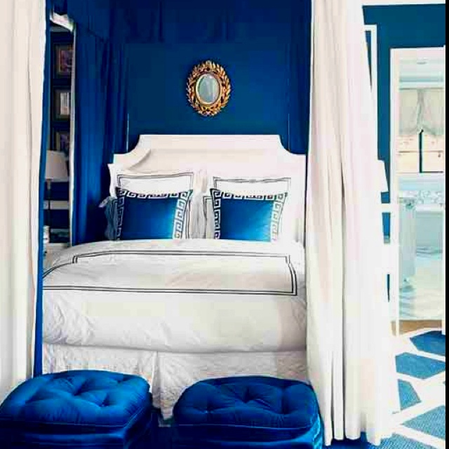 Blue Accent Wall Inspiration Of Royal Blue and White Bedroom Image
