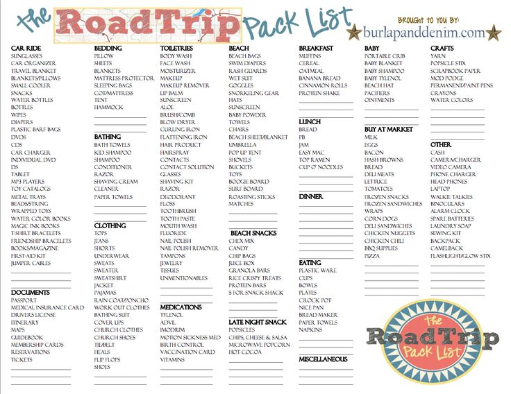 It's just an image of Tactueux Road Trip Packing List Printable