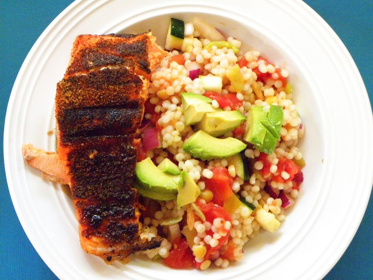 Chili-rubbed salmon with Avocado Salsa and Israeli Couscous Salad