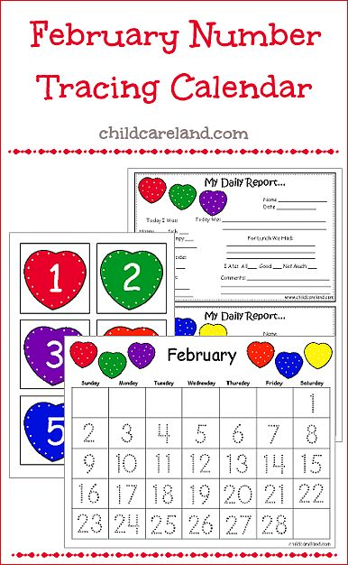 childcareland blog: February Number Tracing Calendar and Numbers