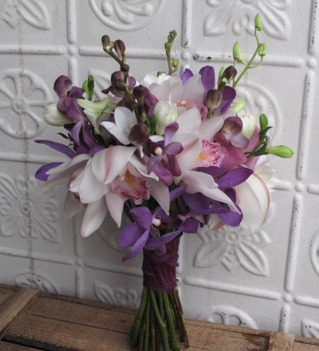 Bridal Bouquet Of Purple Vanda Orchids White Cymbidium Orchids White