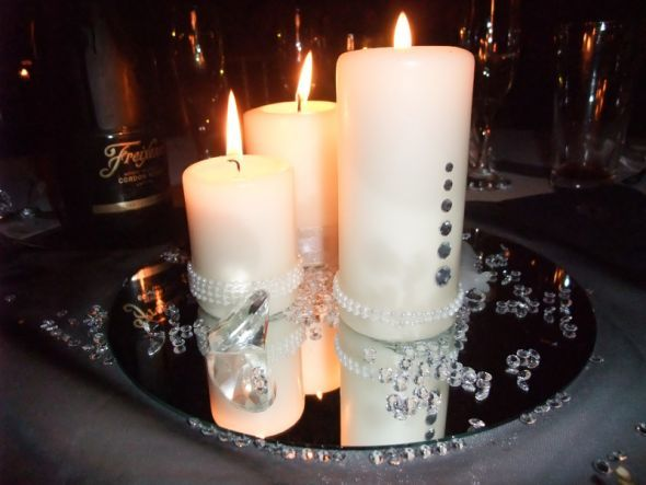 Diamond and pearls centerpiece wedding ideas pinterest - Candle and mirror centerpieces ...