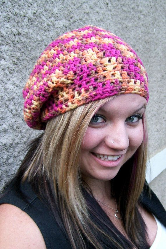 Slouchy Beanie Crocheted Oranges Pinks