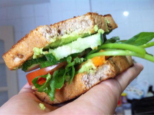 Red, Orange and Green Sandwich | {Veggie} | Pinterest