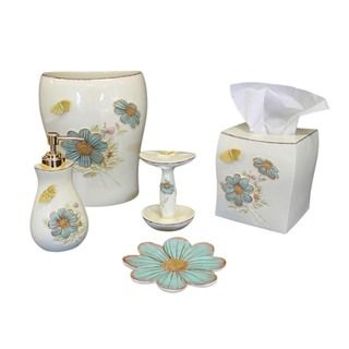 Sherry kline elindale bath accessory 5 piece set for Yellow and blue bathroom accessories