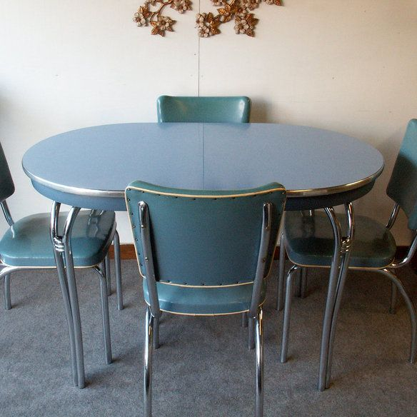 Vintage blue formica table with chairs for Table formica