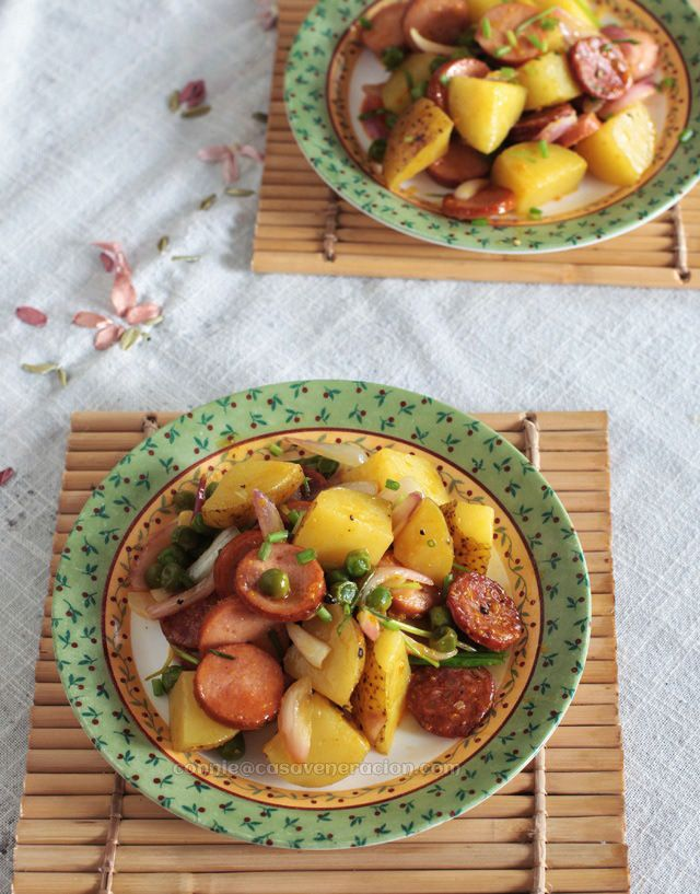 Warm sausage and potato salad with honey-mustard dressing from @Connie ...