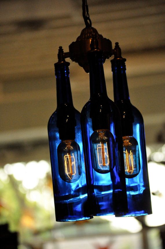 Recycled Blue Wine Bottle Chandelier by MoonshineLamp on Etsy, $425.00