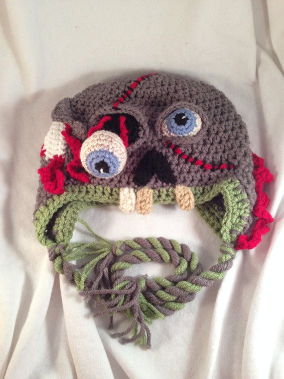 CUSTOM Crochet Zombie Earflap Hat by LaurelAndHoney on Etsy, $25.00