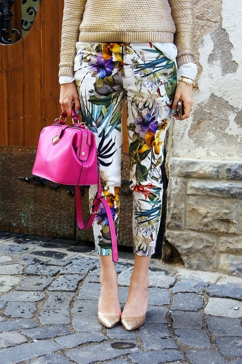 flowered pants and nude