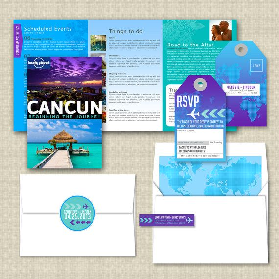 Planet: Travel Guide / Primer Inspired Destination Wedding Invitation