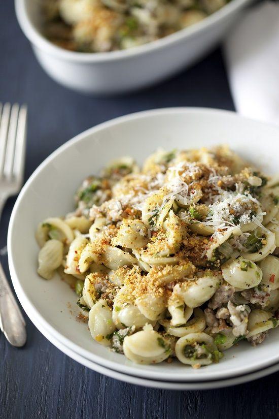 Orecchiette pasta with sausage and rapini