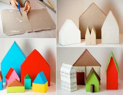 Projects: Cereal Box Village | Handmade Charlotte - decoupage with book pages or maps