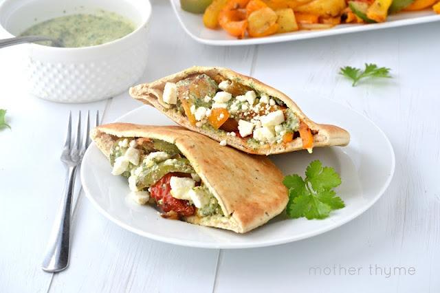 Grilled Vegetable Pitas with Cilantro-Lime Pesto | Recipe