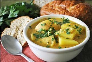 Saffron, Potato and Fried Almond Soup | Recipe