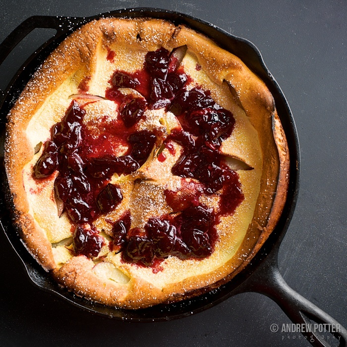 Peach Dutch Baby with Cherry Compote | FOOD | Pinterest