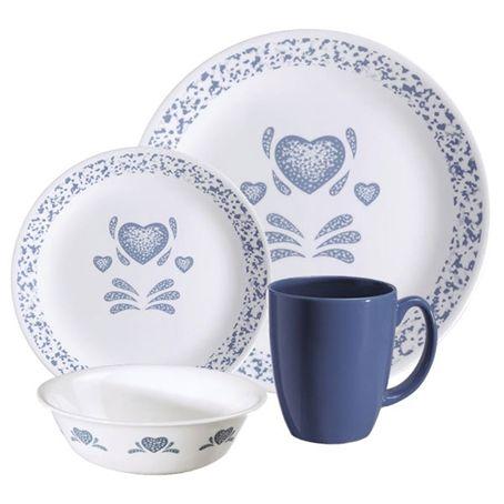 dinner set blue hearts livingware corelle world kitchen uk