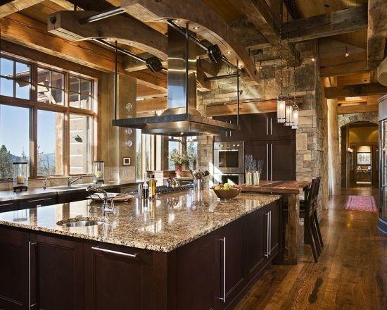 Modern rustic kitchen home pinterest for Mountain kitchen designs