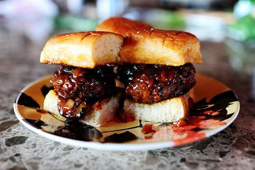 Spicy Whiskey BBQ Sliders. First three words of the name should go on ...