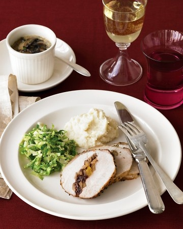Main Pork Loin with Dried-Fruit and Chestnut Stuffing Side Herbed ...