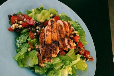 Southwestern Grilled Chicken Salad with Cherry Tomato-Black Bean-Corn ...