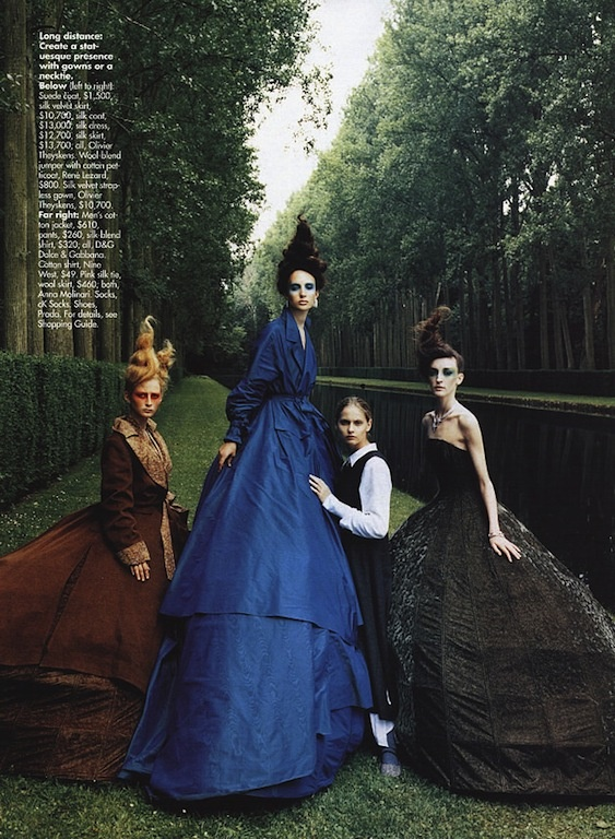 "The Terrier and Lobster: ""Masquerade"": Dessislava Pavlova, Alexandra Pavlova, Amy Nemec, Inge Geurt in a Couture Shakespeare Costume Drama by Ruven Afanador for US Elle September 2000"