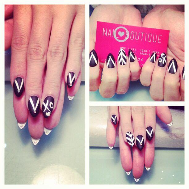 Pointy white stripe nail art | 2013 Nail Art Collection | Pinterest