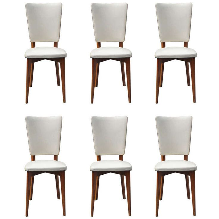 Set Of Six French Art Deco Walnut Dining Chairs Circa 1940 39 S