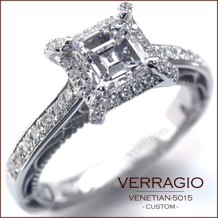 Verragio Engagement Ring Princess Cut w Diamond Halo