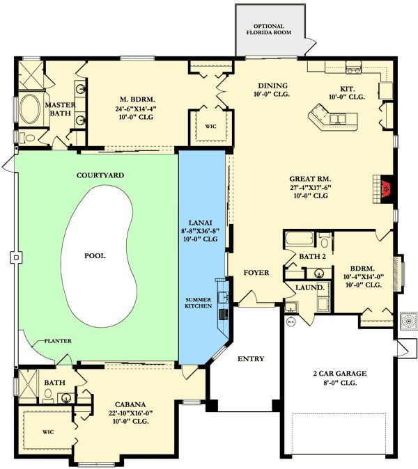 Home Plan With Courtyard And Guest Cabana