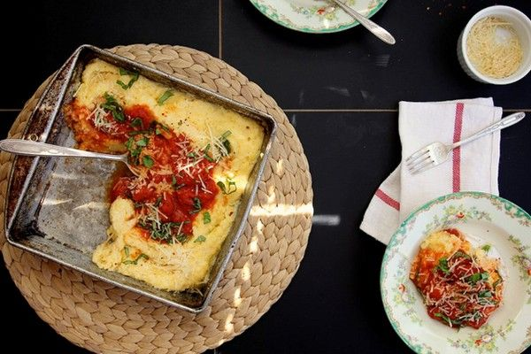 Baked polenta with tomato and basil from Joy the Baker