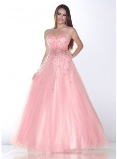 Pink Tulle A Line Prom Dress