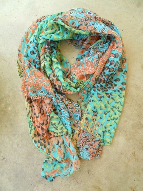 Charming Peacock Feather Scarf