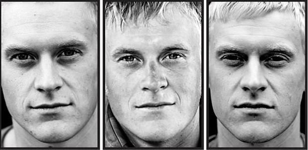 'Marked': A chilling photo series by Claire Felicie of black and white triptychs of marines before, during and after their tour of duty to Afghanistan @Lisa- have you seen this?