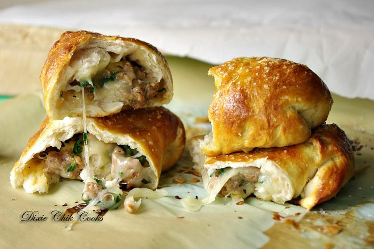 Italian Sausage, Spinach and Cheese Stuffed Pretzel Buns from @Dixie ...