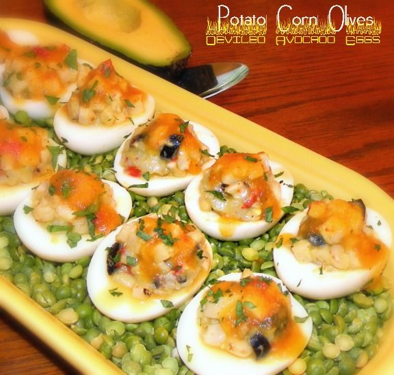 ... Dish - Potato, Corn & Olive Stuffed Eggs with Deviled Avocado Dressing