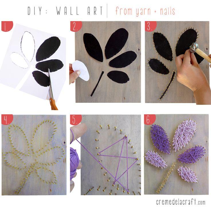 Wall art nails yarn craft ideas pinterest for Yarn wall art