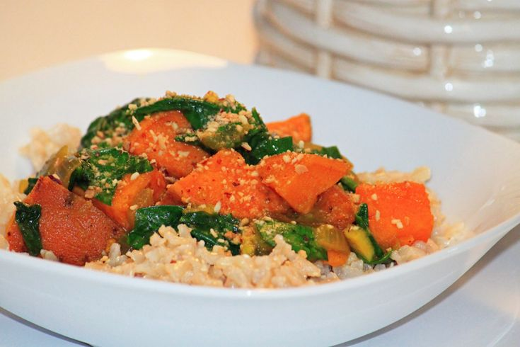 Vegan Red Curry Tofu And Kale With Brown Rice Recipe ...