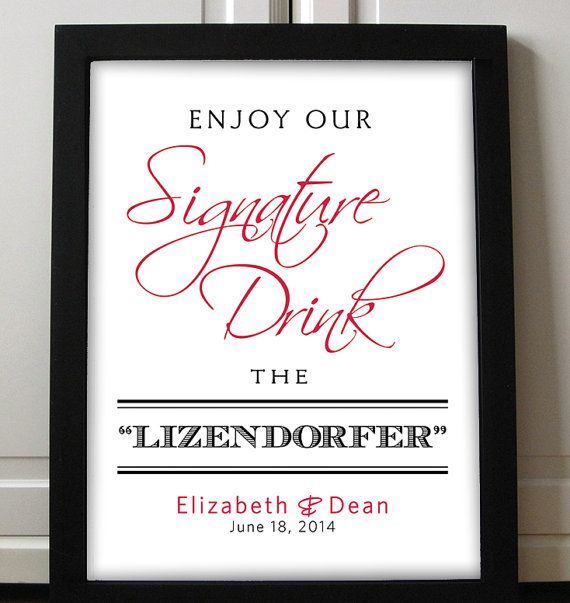 Signature Drink Sign Wedding Printable Typography Script Stag Doe E