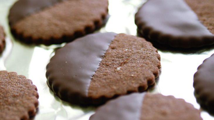 Fine Cooking's Chocolate-Glazed Chocolate-Hazelnut Cookies