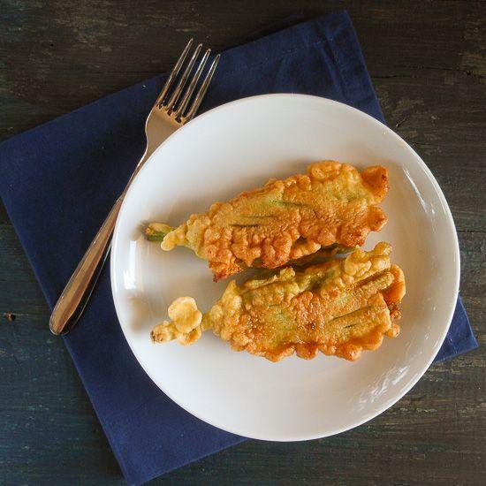 stuffed zucchini flowers with mozzarella and prosciutto