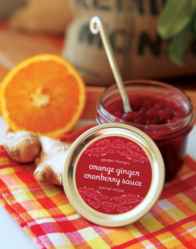 Orange Ginger Cranberry Sauce #recipe #holiday #canning #labels #gift