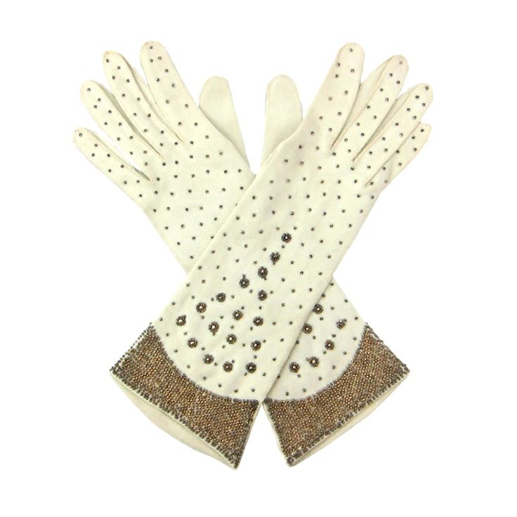 Vintage 1940's Copper Beaded Gloves.
