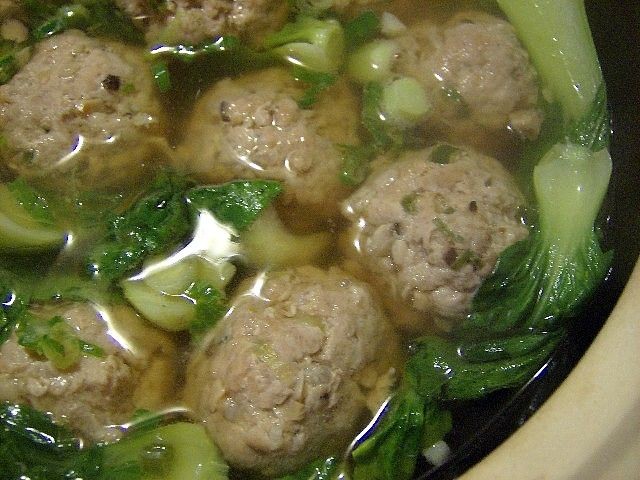 Baby Bok Choy Soup with Pork Meatballs | Foods To Try | Pinterest