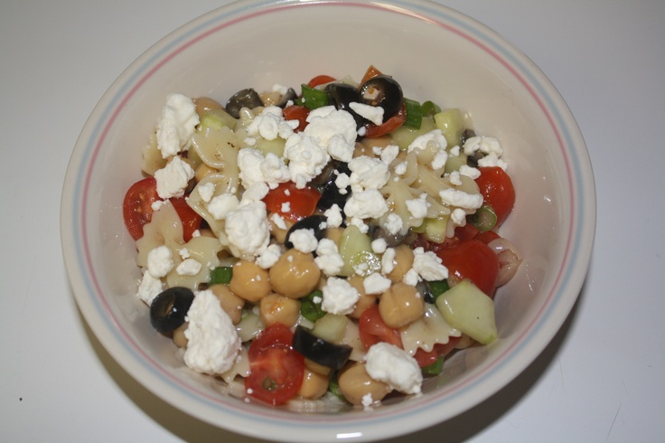 ... olives, green onion, feta cheese, greek dressing and salt/pepper to