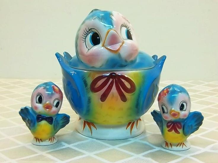 Vintage Lefton Blue Bird Cookie Jar #289 with Salt & Pepper #282 geo.Z ...