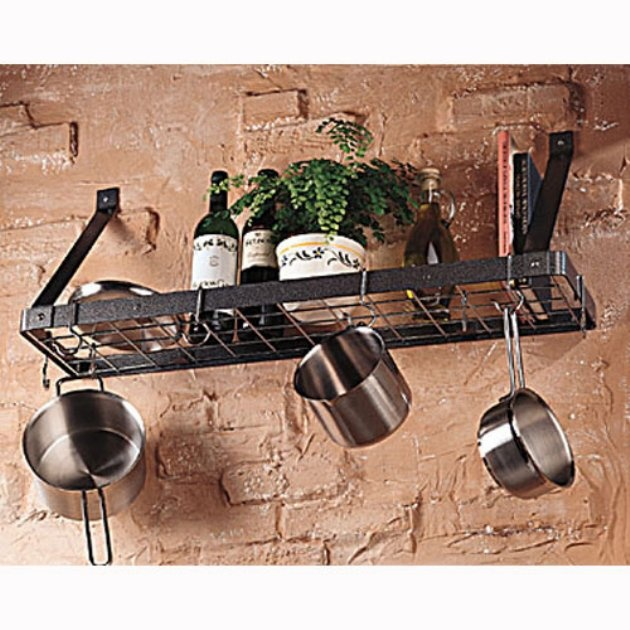 The gourmet bookshelf wall mount pot rack with grid www for Pot racks for kitchen