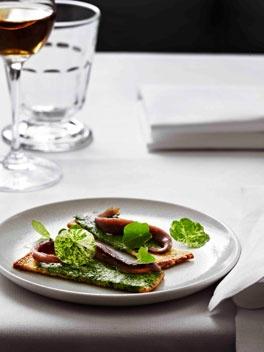 Ortiz anchovy and nasturtium sandwich, Montpellier butter.