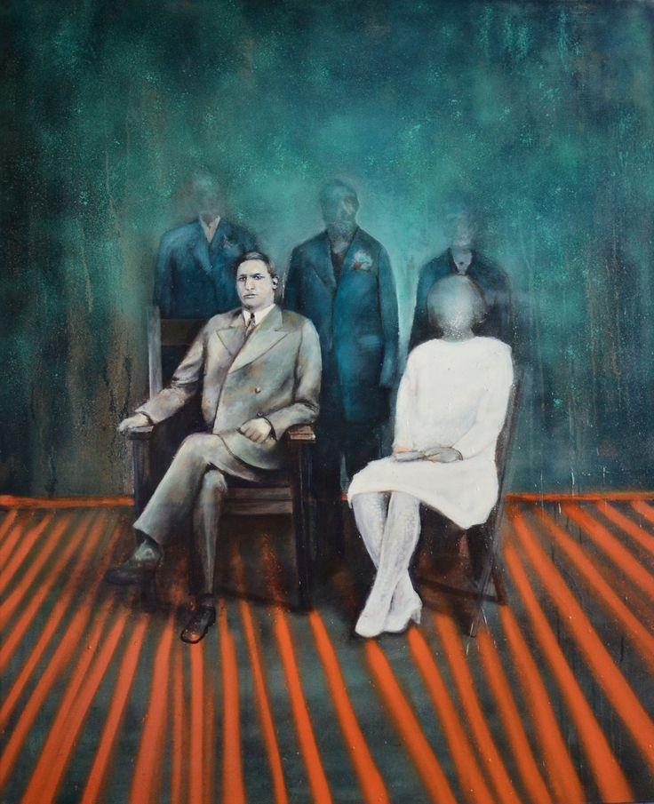 Arkadiusz Andrejkow, Synowie, olej, spray na płótnie, 110x90cm, 2014r.
