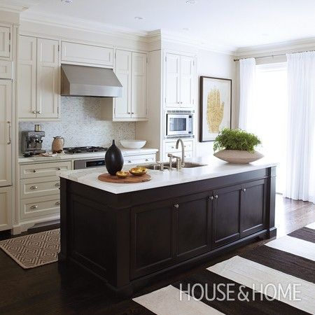 Small Open Kitchen | House & Home..  maybe a runner or rug to break up all the wood tones
